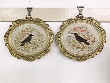 A pair of unusual gilt framed oval Silk Embroider