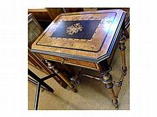 A 19th Century European Walnut and Inlaid Sewing