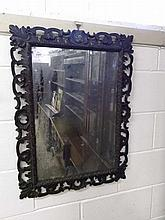 A 19th Century Oak Rectangular Wall Mirror with a