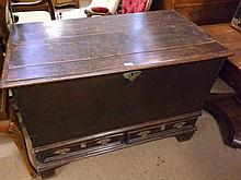 An 18th Century Mahogany Blanket Chest, of rectan