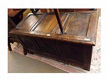 A late 17th Century Oak Coffer, three panelled to