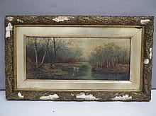 M.R. (C19th English School), Swans on a pond,