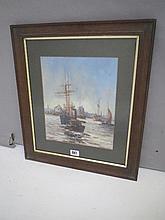 Scene of sailboats off a coastline, oil on board