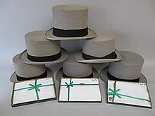 Six mixed grey top hats & three packets of