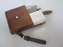 Leather cased hunting canteen with spirit flask &