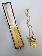 George V 1914 gold Sovereign on 18ct gold chain