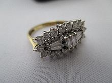 Decorative ladies diamond cluster dress ring, 9ct
