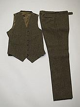Tweed waistcoat with matching trousers, tweed
