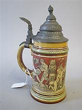 Mettlach stoneware pewter lidded tankard decorated