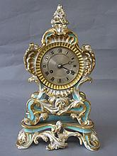 C19th Paris rococo style mantle clock with gilt