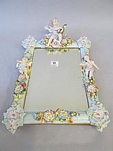 Good large continental porcelain mirror painted &