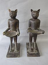 Pair Egyptian style bronze modelled as mythical
