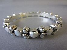 Freshwater pearl & sterling silver bangle