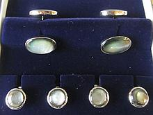Sterling silver plate black mother of pearl stud