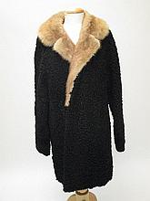 Astrakhan black 3/4 length coat & brown fur collar