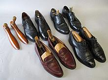 Four pairs of gents shoes with trees & pair of