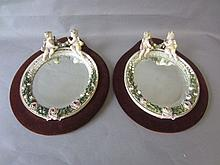 Pair C19th Meissen porcelain wall mirrors modelled