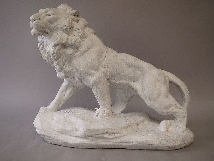 Edwardian plaster cast model of a lion