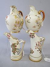 Pair Royal Worcester flat back jugs, pattern No.