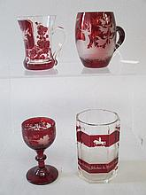 Four small red & clear glass pieces, two mugs,