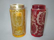 Bohemian ruby tinted vase & a similar amber vase