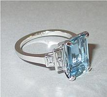Fine Aquamarine 3ct & Baguette Diamond approx.