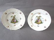 Pair C19th Dresden porcelain saucer dishes