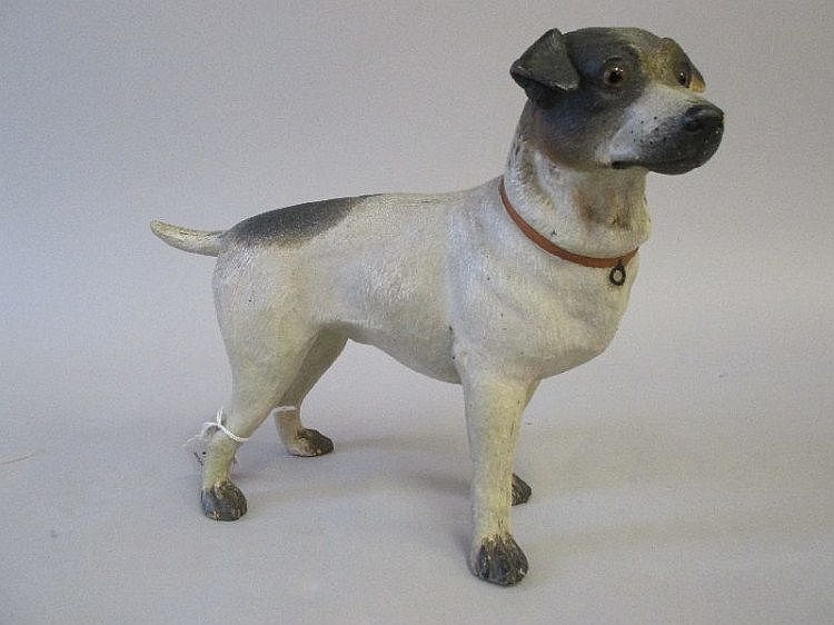 C19th painted terracotta model of a Jack Russell