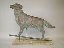 Cooper weather vane of retriever on wooden base