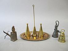 Victorian brass oval twin candle snuffer tray &