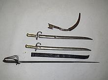 Officers sword by E Thorkle of London & two