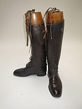 Pair black leather field boots with wooden trees