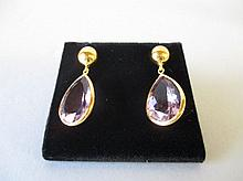 Amethyst Silver Gold Gilt Tear Drop Earrings