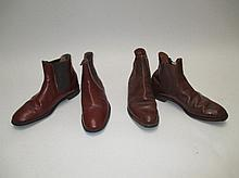 Two pairs brown leather jodhpur boots