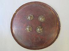 C19th Indian leather & brass circular shield