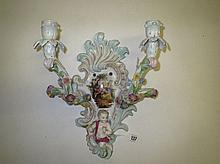 C19th German porcelain Sitzendorf style two light
