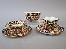 Two Royal Crown Derby Japan pattern cups & saucers