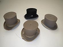 Three grey top hats & black fur top hat