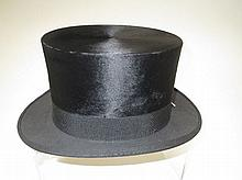 Black silk top hat by Burton, size approx. 7 1/4