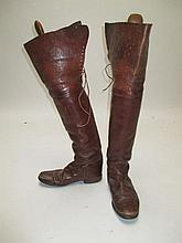 Gents vintage brown leather military officer boots