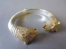 Panther head sterling silver hallmarked bangle set