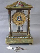 C19th French cloisonné enamel & onyx mantle clock