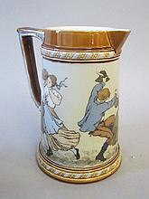 Mettlach stoneware beaked tankard decorated with