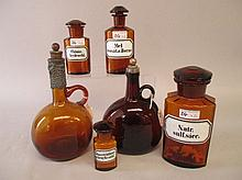 Four various amber apothecary bottles & two