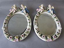 Similar pair C19th Dresden porcelain wall mirrors