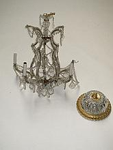 Flemish five light brass chandelier together with