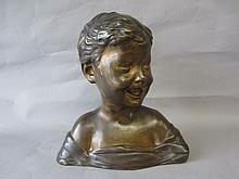 Early C20th gilded bronze bust of a young child,