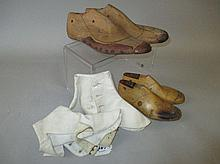 Two pairs of wooden cobbler shoe lasts & pair