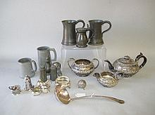 Silver plated three piece teaset, small plated