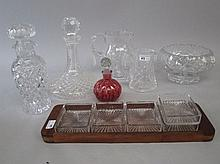 Qty of cut glass table ware to include decanter,